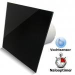 Pro-Design badkamerventilator - TIMER + VOCHTSENSOR (KW100H) - Ø 100mm - vlak GLAS - glans zwart
