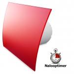 Pro-Design badkamer/toilet ventilator - MET TIMER (KW100T) - Ø100mm - gebogen GLAS - mat rood