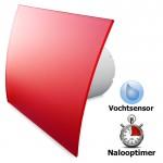 Pro-Design badkamerventilator - TIMER + VOCHTSENSOR (KW100H) - Ø 100mm - gebogen GLAS - mat rood