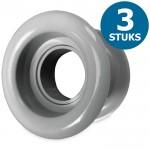 Ronde deurroosters Ø40mm - kunststof grijs - set van 3 stuks