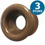Ronde deurroosters Ø40mm - kunststof bruin - set van 3 stuks