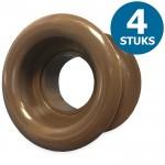 Ronde deurroosters Ø40mm - kunststof bruin - set van 4 stuks