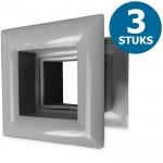 Vierkante deurroosters 29 x 29mm - kunststof grijs - set van 3 stuks