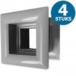 Vierkante deurroosters 29 x 29mm - kunststof grijs - set van 4 stuks