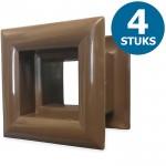 Vierkante deurroosters 29 x 29mm - kunststof bruin - set van 4 stuks