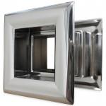 Vierkant deurrooster 29 x 29mm - kunststof chrome