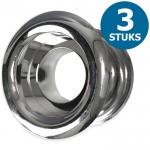 Ronde deurroosters Ø40mm - kunststof chrome - set van 3 stuks