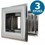 Vierkante deurroosters 29 x 29mm - kunststof chrome - set van 3 stuks