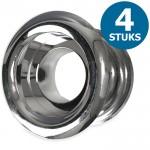 Ronde deurroosters Ø40mm - kunststof chrome - set van 4 stuks