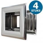 Vierkante deurroosters 29 x 29mm - kunststof chrome - set van 4 stuks