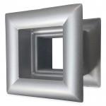 Vierkant deurrooster 29 x 29mm - kunststof metallic grijs