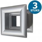 Vierkante deurroosters 29 x 29mm - kunststof metallic grijs - set van 3 stuks