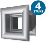 Vierkante deurroosters 29 x 29mm - kunststof metallic grijs - set van 4 stuks