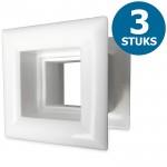 Vierkante deurroosters 29 x 29mm - kunststof wit - set van 3 stuks