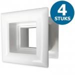 Vierkante deurroosters 29 x 29mm - kunststof wit - set van 4 stuks