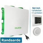 DucoBox Silent met randaarde stekker + bedieningsschakelaar RF (batterij) + 4 luchtventielen