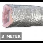 Geïsoleerde flexibele ventilatieslang - Aluminium - Ø125mm - Lengte 3 METER