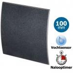 Pro-Design badkamer/toilet ventilator - TIMER + VOCHTSENSOR (KW100H) - Ø100mm - kunststof - grafiet DELUXE