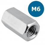 Koppelmoer M6 - zeskant - L = 18mm
