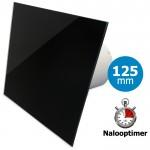 Pro-Design badkamer/toilet ventilator - MET TIMER (KW125T) - Ø125mm - vlak GLAS - glans zwart