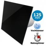 Pro-Design badkamerventilator - TIMER + VOCHTSENSOR (KW125H) - Ø 125mm - vlak GLAS - glans zwart
