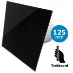 Pro-Design badkamer/toilet ventilator - TREKKOORD (KW125W) - Ø 125mm - vlak GLAS - glans zwart