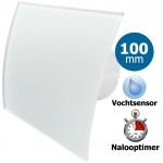 Pro-Design badkamerventilator - TIMER + VOCHTSENSOR (KW100H) - Ø 100mm - gebogen GLAS - mat wit