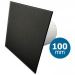 Pro-Design badkamer/toilet ventilator - STANDAARD (KW100) - Ø100mm - vlak GLAS - mat zwart