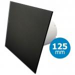 Pro-Design badkamer/toilet ventilator - STANDAARD (KW125) - Ø125mm - vlak GLAS - mat zwart