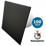 Pro-Design badkamer/toilet ventilator - MET TIMER (KW100T) - Ø100mm - vlak GLAS - mat zwart