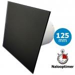 Pro-Design badkamer/toilet ventilator - MET TIMER (KW125T) - Ø125mm - vlak GLAS - mat zwart