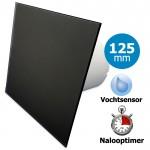 Pro-Design badkamerventilator - TIMER + VOCHTSENSOR (KW125H) - Ø 125mm - vlak GLAS - mat zwart