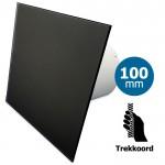 Pro-Design badkamer/toilet ventilator - TREKKOORD (KW100W)  - Ø 100mm - vlak GLAS - mat zwart