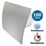 Pro-Design badkamerventilator - TIMER + VOCHTSENSOR (KW100H) - Ø 100mm - RVS gebogen