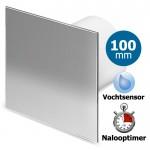 Pro-Design badkamerventilator - TIMER + VOCHTSENSOR (KW100H) - Ø 100mm - RVS vlak