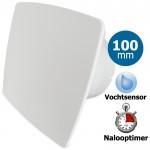 Pro-Design badkamerventilator - TIMER + VOCHTSENSOR (KW100H) - Ø 100mm - WIT *Bold-Line*