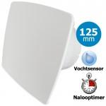 Pro-Design badkamerventilator - TIMER + VOCHTSENSOR (KW125H) - Ø 125mm - WIT *Bold-Line*