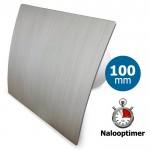 Pro-Design badkamer/toilet ventilator - MET TIMER (KW100T) - Ø100mm - kunststof - zilver
