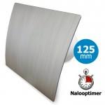 Pro-Design badkamer/toilet ventilator - MET TIMER (KW125T) - Ø125mm - kunststof - zilver
