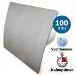 Pro-Design badkamerventilator - TIMER + VOCHTSENSOR (KW100H) - Ø 100mm - kunststof - zilver