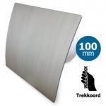 Pro-Design badkamer/toilet ventilator - TREKKOORD (KW100W) - Ø 100mm - kunststof - zilver