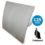 Pro-Design badkamer/toilet ventilator - TREKKOORD (KW125W) - Ø 125mm - kunststof - zilver
