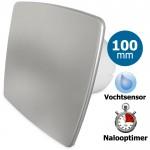 Pro-Design badkamerventilator - TIMER + VOCHTSENSOR (KW100H) - Ø 100mm - RVS *Bold-Line*