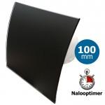 Pro-Design badkamer/toilet ventilator - MET TIMER (KW100T) - Ø100mm - gebogen GLAS - mat zwart