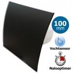 Pro-Design badkamerventilator - TIMER + VOCHTSENSOR (KW100H) - Ø 100mm - gebogen GLAS - mat zwart