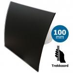 Pro-Design badkamer/toilet ventilator - TREKKOORD (KW100W) - Ø 100mm - gebogen GLAS - mat zwart