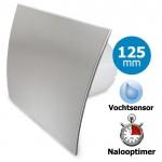 Pro-Design badkamerventilator - TIMER + VOCHTSENSOR (KW125H) - Ø 125mm - RVS gebogen