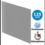 Pro-Design badkamer/toilet ventilator - TIMER + VOCHTSENSOR (KW125H) - Ø125mm - vlak GLAS - mat grijs