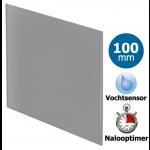 Pro-Design badkamer/toilet ventilator - TIMER + VOCHTSENSOR (KW100H) - Ø100mm - vlak GLAS - mat grijs