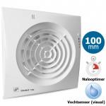 Badkamer/toilet ventilator Soler & Palau Silent (100CHZ VISUAL) Ø 100mm - TIMER + VOCHTSENSOR